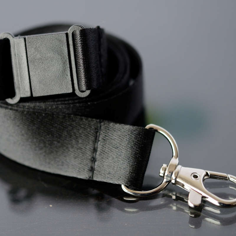 Black 20mm flat polyester satin lanyard with safety buckle and trigger snap swivel hook