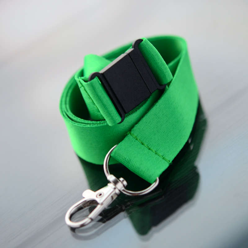 Green 20mm flat polyester satin lanyard with safety buckle and trigger snap swivel hook