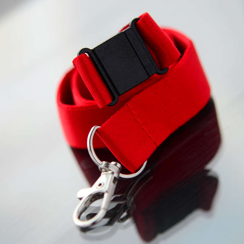 Red 20mm flat polyester satin lanyard with safety buckle and trigger snap swivel hook