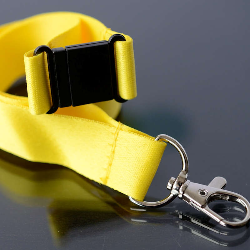 Yellow 20mm flat polyester satin lanyard with safety buckle and trigger snap swivel hook