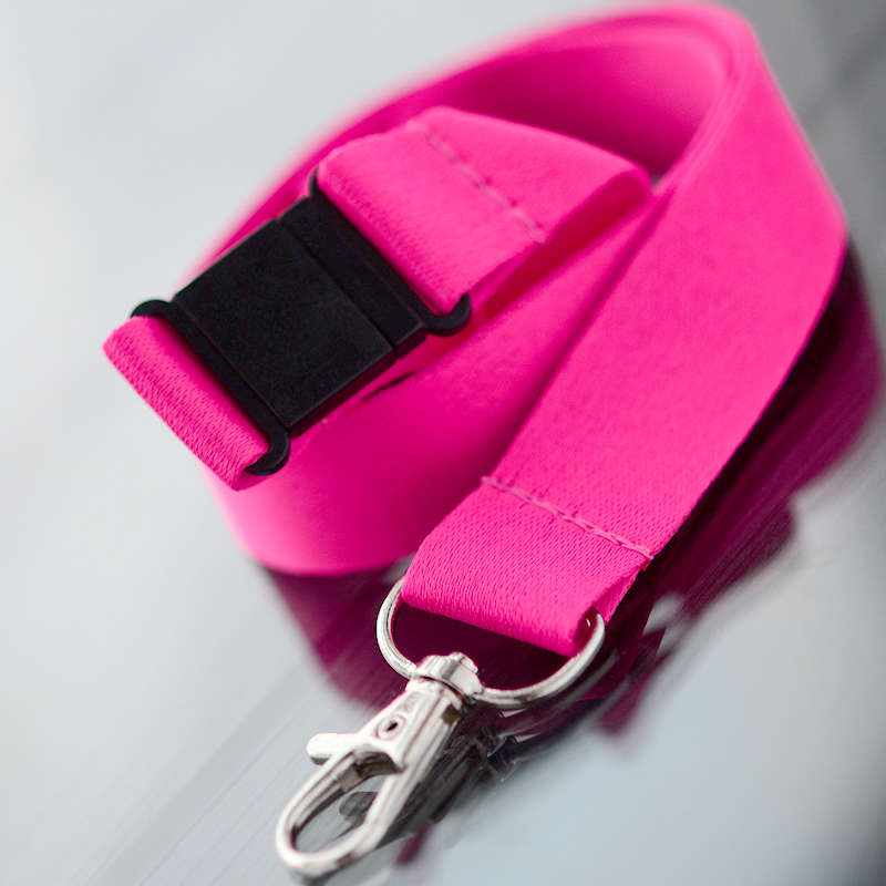 Fuchsia 20mm flat polyester satin lanyard with safety buckle and trigger snap swivel hook
