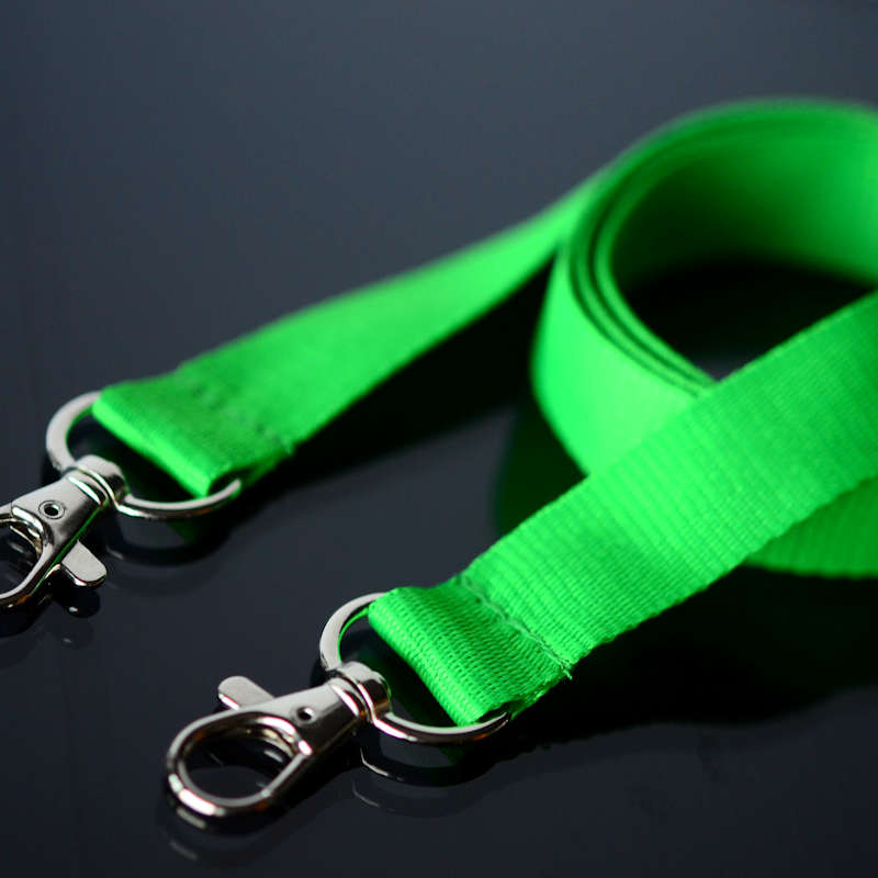 Green Lanyard 20mm with two trigger clip attachments, no safety buckle, soft material